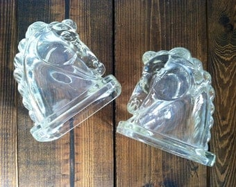 Vintage Pressed Glass Horse Head Bookends