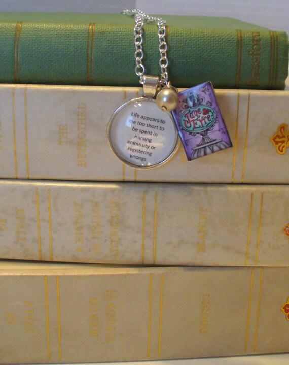 Book Nook Necklace, Quote Necklace, Jane Eyre Necklace, Charlotte Bronte, Literature Necklace, Silver Chain, Pearl, Pendant, MarjorieMae