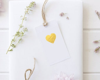Gold or Silver Envelope Seals Stickers Heart Shape