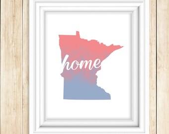 Minnesota HOME Watercolor Print   MN Wall Art   State Watercolor Art Print   Minn. Wall Decor   USA State Art   Map Print   Map Art