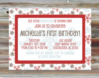 Snowflake Winter First Birthday Invitation - Printable Snowflake Theme Boy Girl Birthday Invite - Snow Snowflake Winter Birthday Party
