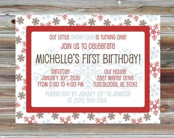 Snowflake Winter First Birthday Invitation - Printable Snowflake Theme Boy Girl Birthday Invite - Snow Snowflake Winter Birthday Party