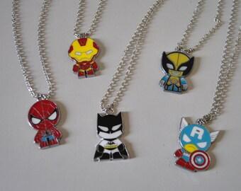 Superhero necklaces-batman-wolverine-spiderman-iron man-captain america-marvel super hero