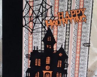 Halloween Scrapbook Album, Large Mini Album, Happy Haunting Memory Book