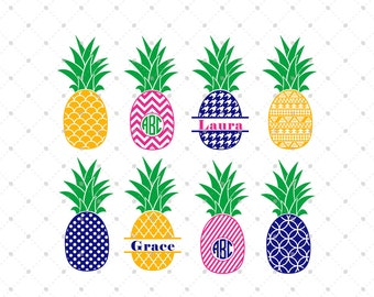 Pineapple SVG Cut Files, Pineapple Monogram Frame SVG cut files for Cricut and Silhouette, Vinyl Cutters Cutting Files, SVG files