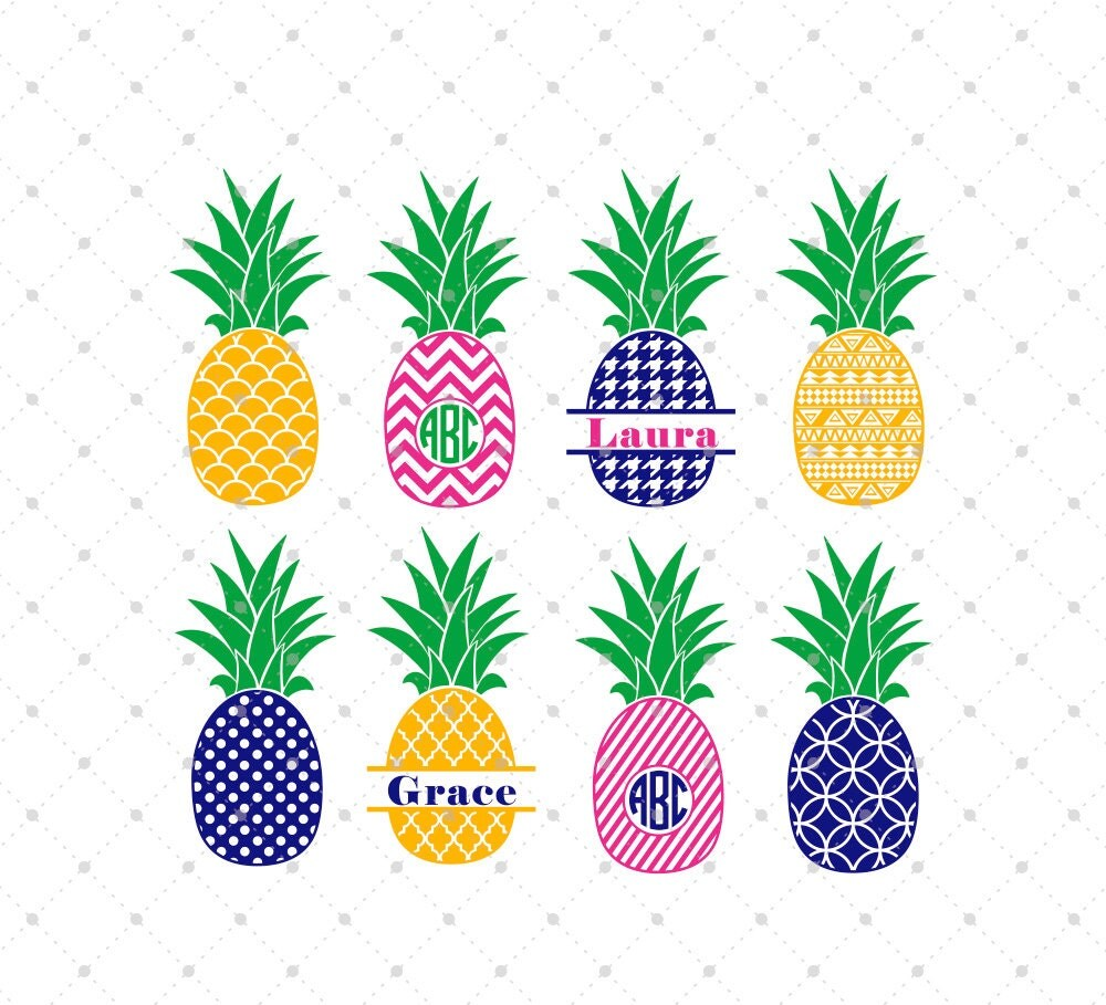 Download Pineapple SVG Cut Files Pineapple Monogram Frame SVG cut