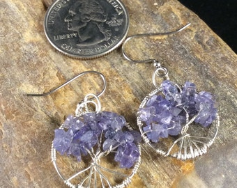 Tree of Life Earrings, Tanzanite Tree of Life, Purple Earrings, December Birthstone, Tree Earrings, Dangle Earrings, Tanzanite Earrings