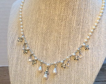 Pearl Bridal Jewelry, Wedding Charm Necklace, Vintage Rhinestone Pearl Necklace, Bridesmaid Jewelry, Style No. 1548
