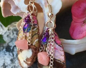 Velvet Earrings Handpainted Silk Floral Rose Gold Chains