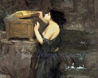 "John Waterhouse ""Pandora"" Opening of Pandora's Box Greek Mythology 1898 Reproduction Digital Print Vintage Print Wall Hanging"
