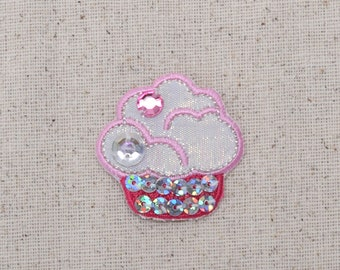 Cupcake - Pink Frosting - Sequins - Iron on Applique - Embroidered Patch - 695555A