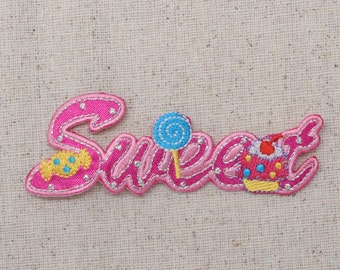Sweet WORD - Pink - Candy - Iron on Applique - Embroidered Patch - 695649-A