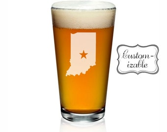 Indiana Pint Glass. Customize With Text or Symbol. Indiana Glass. Indiana Beer Glass.