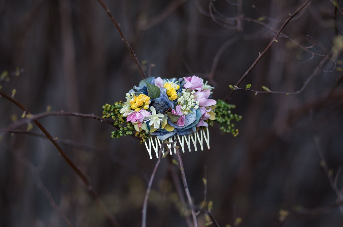 Flower hair comb floral pink blue yellow fairy hair flowers wedding flower hair comb floral pink blue yellow fairy hair flowers wedding comb bridal hair fashion accessories izmirmasajfo