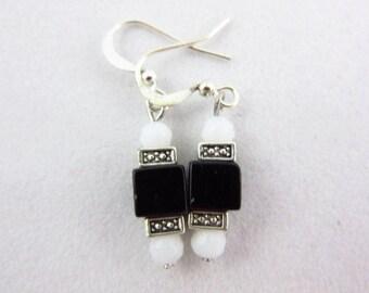 Black and White Glass Earrings Handmade Dangle Earrings