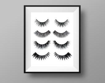 Lashes Print - Makeup Print | Makeup Decor | Eyelashes Printable | Beauty Prints | MUA | Powder Room Decor | Instant Digital Download