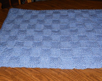 Blue hand knit baby blocks blanket receiving blanket basketweave blanket stroller blanket baby blanket blanket made by hand baby boy blanket