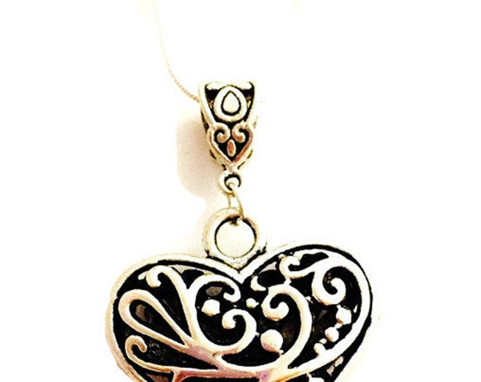 Heart Necklace, Silver plate Heart Necklace, Silver and Black Heart Necklace, Silver Plated Chain 18 or 28 inches