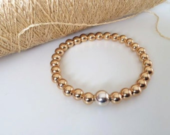 14K  Gold Filled and Sterling Silver Ball Bracelet, Two tone, Stretch bracelet, thehappylittlebeader