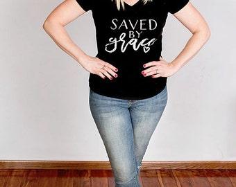 Saved by Grace womens cut T-shirt