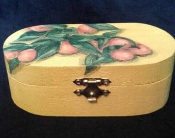 Kumquats Hand Painted on Oval Wooden Box