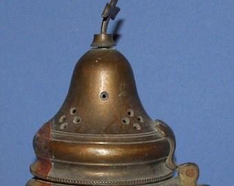Antique Bronze Icon Lamp Incense Burner With Cross