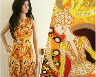 Vintage 60s Orange Psychedelic Lady Print Mini Shift Dress Novelty Mod / UK 8 / EU 36 / US 4