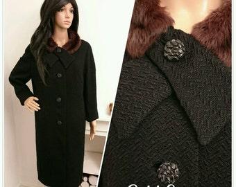 Vintage 60s Black Fur Collar Textured Wool Coat Mod Mad Men Oversized / UK 14 16 / EU 42 44 / US 10 12