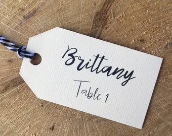 Custom escort cards, custom place cards, custom escort tags, custom place tags, custom place settings - 3 Styles - TWINE INCLUDED