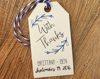 With Thanks tag, Thanks tag, Wedding tag, Favor tag, Gift tag, Custom tag, Thank You tag- TWINE included