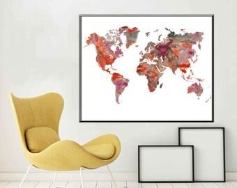 World Map Large World Map Poster World Map Art World Map Decor World Map Print World Map Gift