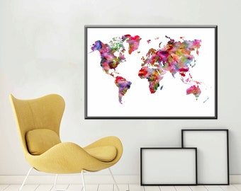 Large World Map Poster World Map Large Map Art World Map Decor World Map Print World Map Gift