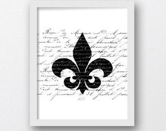 Digital Print Fleur Di Lis, Fleur Di Lis Art, Black White Digital Prints, Fleur Di Lis Prints, Prints of Fleur Di Lis, French Fluer Di Lis