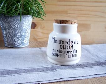 Mustard jar with cork Bornier  mustard from Dijon with fine vinegar | French vintage Kitchen 1970