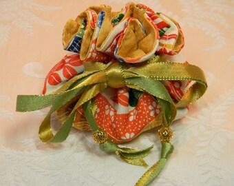 Vibrant Cream Kimono Jewelry Pouch