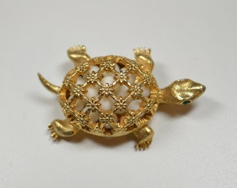 Vintage DeNICOLA Turtle Pin Brooch Signed DeNICOLA Figural Pin Figural Brooch For The Turtle Lover Filled with Beads Rhinestone Eyes