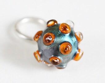 Artisan Lampwork glass Charm bead. Dangle Charm pendant. Sterling silver. Lampwork bead handmade, European charm bead Glass pendant necklace