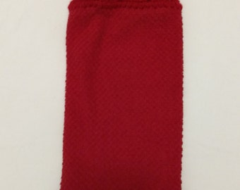 All Red Hanging Kitchen Towel with Santa Claus Button