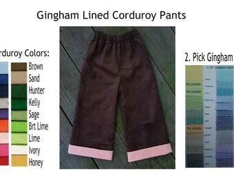 Corduroy Pants with Gingham Lining  Featherwale 21wale Soft Corduroy Pants