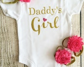 Daddy's Girl Onesie Set - Pink & Gold Glitter - First Fathers Day Bodysuit, Headband, Barefoot Sandals, Personalized, Photo Prop, ift