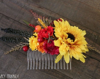 Handmade Sunflower Larger Rustic Fall Bridal Hair Side Comb- (faux assorted multi-color Fall floral)