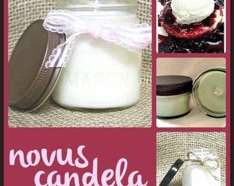 Mason Jar Candle - Soy Candle - Scented Candle - Black Raspberry Candle - Raspberry Candle - Vanilla  Candle - Housewarming Gift -4 & 8 oz