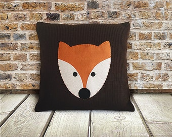 CHRISTMAS GIFT, Knitted Pillow Cover, EXPRESS Shipping, Cushion Cover, Fox, Xmas Gift Idea, Unique Gift, Home Decor, Nursery Pillow Cover