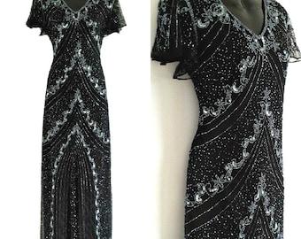 SALE Embellished Flapper Dress, 1920s Great Gatsby Dress, Downton Abbey, 20s Vintage Style, Evening Beaded Gown, Plus Size Dress, XXXL-4XL