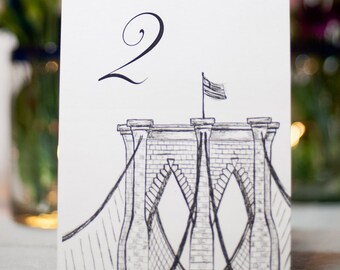 Brooklyn Bridge NYC Wedding Table Number Card