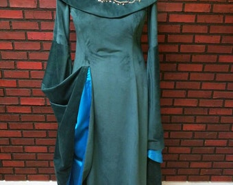 Sansa Stark season 6 inspired teal velvet dress with attached embroidered collar, direwolf beaded embroidery, dress only