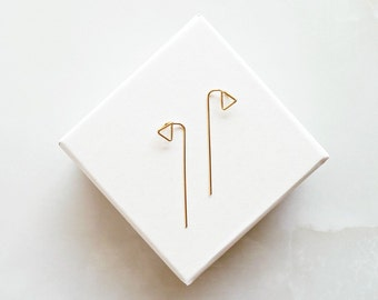 Minimal Triangle Earrings - Triangle Ear Jacket - Minimalist Ear Threader - Gold filled Geometric Ear Jackets - Architectural Earrings -Gift