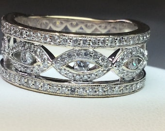Pave Diamond Band  Wedding Ring Stackable Ring  14 Kt Yellow and White Gold 1 CTW