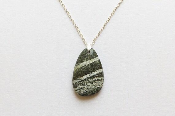 Serpentine Necklace Green Pendant Serpentine by EliisDesign  Serpentine Neck...