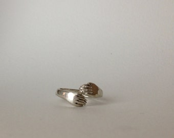 Sterling Silver Hands ring, wrapped hands adjustable ring, READY TO SHIP
